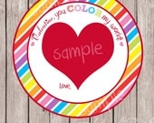 "INSTANT DOWNLOAD ""You Color My World"" Valentines Favor Cards -Melted Crayon Heart Card-Digital/Printable - DIY"