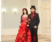 Stunning Red Wedding Dress Alternative Offbeat Gothic Bridal Gown with Stunning Long Train