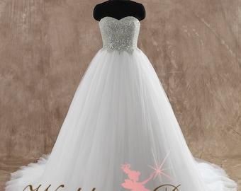 Beaded Bodice Wedding Dress Bridal Gown Ballgown