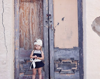 Little Girl Bubble Short Romper with Lace Detail Back - Black and Cream Haven - Toddler Girl Romper - Little Girl Spring Outfit