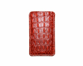 Gator Embossed Leather iPhone Sleeve pick your iPhone model, iPhone 4, iPhone 5, iPhone 6, iPhone 6 Plus
