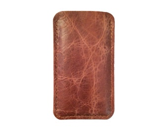 Distressed Leather iPhone 6 Sleeve or iPhone 6 Plus case Antique Whiskey Buffalo Leather