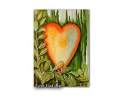 Heart ACEO original / artist trading card / miniature art, art original, watercolor painting, of a heart surrounded by leafs (Forest Heart)