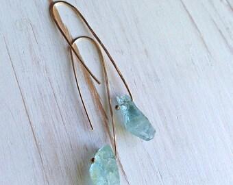 Aquamarine Earrings Aquamarine Raw Hoop Aquamarine Jewelry