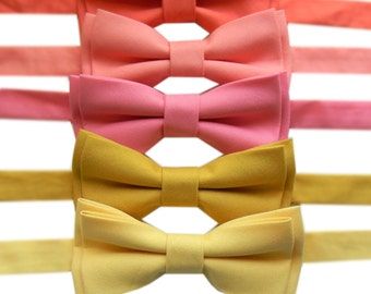 Coral, Peach, Orange, Yellow and Red Bow Ties for Men or Boys, Bow Ties Made in the USA