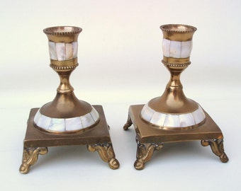 Vintage Brass Candleholders / Mother of Pearl Inlay, Metal Candle Holders / Pair Brass Candlesticks, Abalone Shell