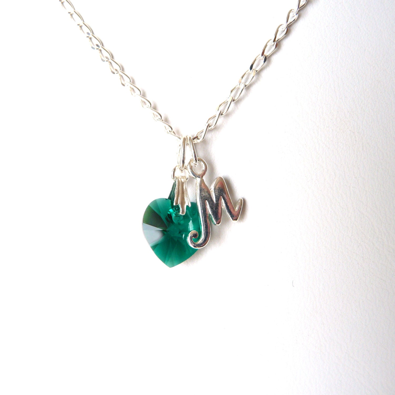 May Birthstone Necklace Initial Birthstone Necklace