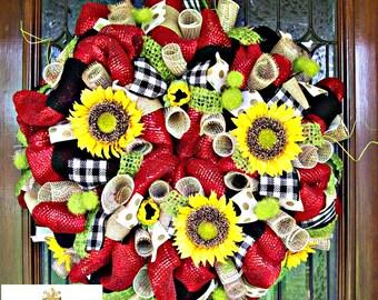 Whimsical Sunflower Summer Wreath