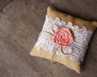 Coral / Salmon / Lace Burlap Ring Bearer Pillow, Rustic wedding, Shabby Chic, Wedding Pillow, woodland, French country / Ready to Ship