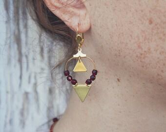 Beaded hoop earrings, oxblood earrings, triangle earrings, geometric hoops, dark red earrings, burgundy jewelry