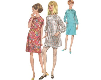 1960s Dress or Tunic with Shorts Simplicity 7163 Empire Waist Gathered Yoke Bracelet Sleeve Bust 31.5 Vintage 1960s Sewing Pattern