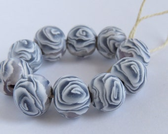 Silver and White Rose beads, 10 mm beads, polymer clay, DIY Crafts, Rose beads, Silver rose, Jewelry Supply, 10 pieces or 50 pieces #Rs01
