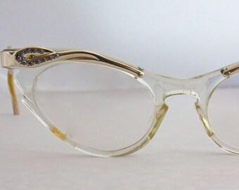 Damaged Prop Only Vintage 1950's Rhinestone Aluminum Cat Eyeglasses