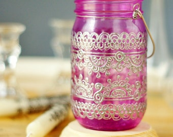 Bohemian Home Decor Mason Jar Lantern, Moroccan Inspired Magenta Glass with Silver Detailing