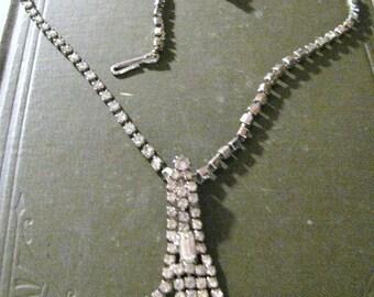 Art Deco Flapper Fringe Rhinestone Necklace Free USA Shipping and Tracking.