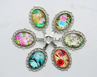 6  Necklaces Flower Necklaces 40mm Wholesale Pendants Six Flower Necklaces 17 inch Rope Flower Gift Garden Gift Rose Jewelry Flower Jewelry
