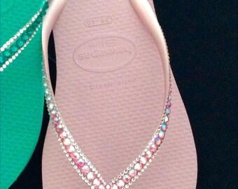 Blush Crush Pink Slim Havaianas flip flops Custom Bling Crystal Sophisticate Glass Slippers w/ Swarovski Jewel Rhinestone Wedding Beach Shoe