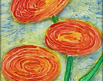 Whimsical Red Orange Poppy Abstract, Bright Poppies Summer Garden Flower Textured Miniature Art