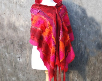Nuno felted scarf wool scarf merino wool shawl fringe scarf red pink orange sunset  felted art summer wool scarf wool blanket gift for her