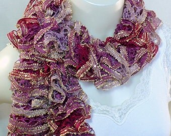 Mauve Ruffle Scarf with Sequins: Trendy Sequin Scarf, Woman's Fashion Scarf, Sashay Scarf, Gifts for Her, Boho Scarf, Ready to Ship