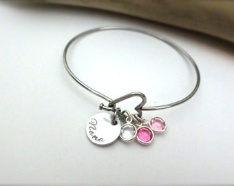 Personalized Grandmother Gift Custom Birthstone Bangle Bracelet Mothers Day Gift Custom Hand Stamped Jewelry