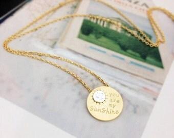 Sunshine Necklace, Round Pendant Necklace