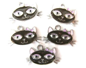 Set of 4 BROWN CAT HEAD Charm Pendant