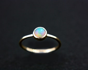 Natural Opal Ring 14k Yellow Gold Natural Ethiopian Welo Opal Gold Ring Made in Your Size Goldsmith October Birtshtone