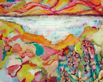 Colourful Sunrise Mosaic Abstract Landscape Painting, Original Abstract Acrylic Fine Art by Aeris Osborne, Stretched Canvas, Wall Art, Pink