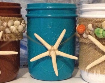 Mason Jars for the Beach, Painted Mason Jars, Beach Mason Jars, Painted Seashells, Mason Jar Decor, Mason Jars Seashells, Beach Jars