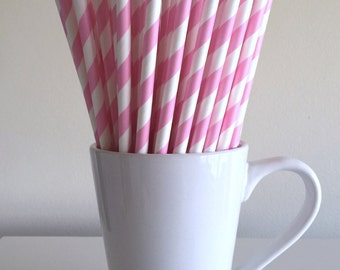 Light Pink Striped Paper Straws Party Supplies Party Decor Bar Cart Cake Pop Sticks Mason Jar Straws  Party Graduation