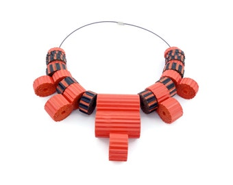 Chunky jewelry Bold jewelry necklace Eco chic orange summer necklace of corrugated paper Unusual jewelry designs Fashion necklace For her