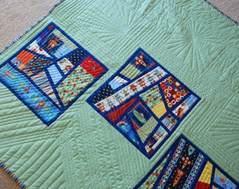 Blue Rockets & Planets Outer Space Bedding Twin Quilt Sets