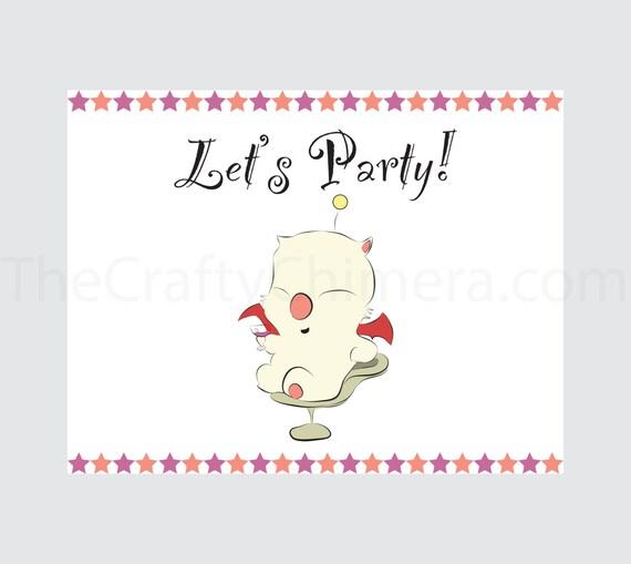 Delivery Moogle Birthday Card Final Fantasy Themed: Items Similar To Final Fantasy Printable Party Invitation