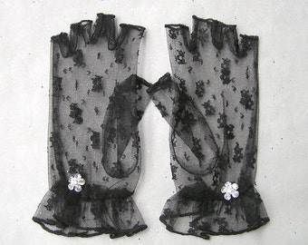 Lace Fingerless Gloves, Black Lace Gloves, Black Retro Gloves, Sheer Gloves, Fingerless Gloves, Fashion Gloves, Gothic, Victorian
