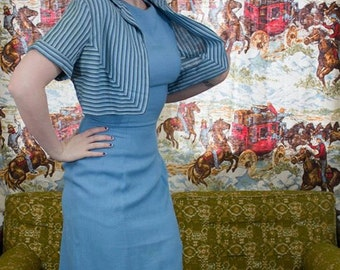 "50s Blue Wiggle Dress W/ Matching Bolero | 50s Wiggle Dress | 50s Blue Dress | Chevron Stripes | 50s Fitted Dress | 50s Day Dress 27"" Waist"