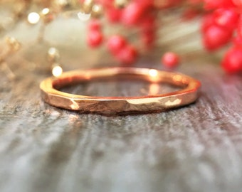 Hammered Ring | Wedding Band | 14K Rose Gold Ring | Stackable Ring | Thin Ring | 1.4MM Band | Solid Gold | Fine Jewelry | Free Shipping