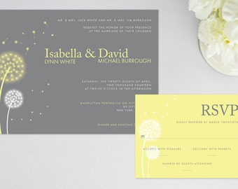 Dandelion Wedding Invitation and RSVP, Response Card   Personalized Content   Custom Colors   Printed