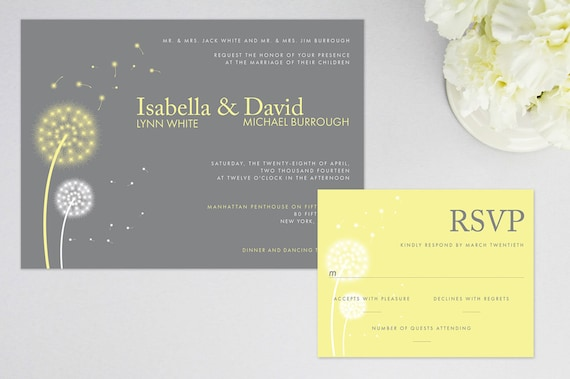 dandelion wedding invitation and rsvp response card personalized