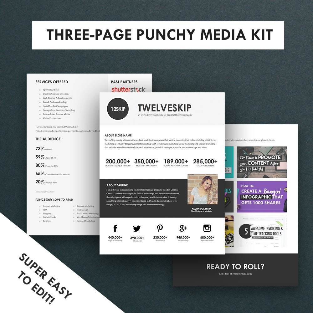 advertising media kit template - minimalist media kit template press kit 3 pages
