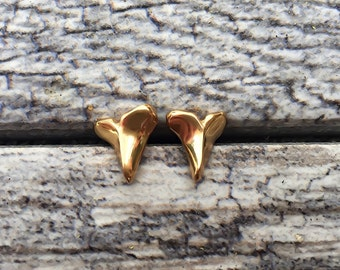 18kt Plated Shark Tooth Stud Earrings, 18kt Plated Earrings, Southern Wire, Stud Earrings
