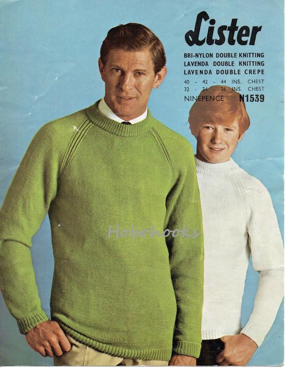 Knitting Pattern Round Neck Jumper : mens / boys round neck sweater knitting pattern by Hobohooks