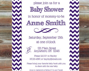 Custom Chevron Gender Neutral Baby Shower Invitation - Baby Shower Invitation - Personalized Baby Shower Invite - Chevron Baby Shower Invite