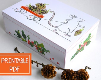 Printable Gift Box- Kind MOUSE -Christmas Gift Wrap,  Digital Pdf, Instant Download, DIY, Child,Wrapping Paper Craft, Large Gift Box