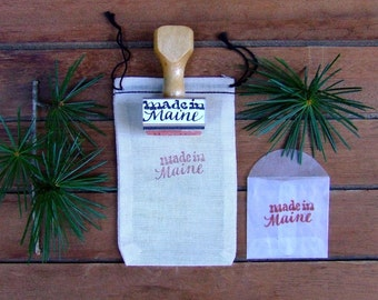 Made in Maine Rubber Stamp, Hand Lettered Calligraphy Stamp, Made in Your State Stamp, Wooden Handle Gift Tag Packaging Stamp