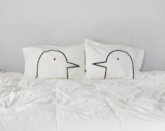 Lovebirds Pillowcase Set - his and hers pillows - engagement gift - couples set -  for women - romantic gift for him - cotton anniversary