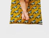 Nap Mat with Horses- Organic Denim with Gold and Aqua Horses- Preschool Napmat- Non Toxic Kids Bedding