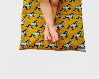 Nap Mat with Horses- Organic Denim with Gold and Aqua Horses- Preschool Napmat- Non Toxic Kids Bedding