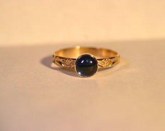 Custom 14K Gold Ring with 6mm Cabochon - 26 Gemstone Choices - Made to Order