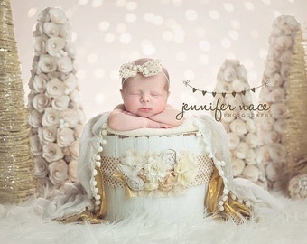 Touched by Grace- ivory white and linen burlap maternity sash, bucket wrap sash with layered textured bow SET